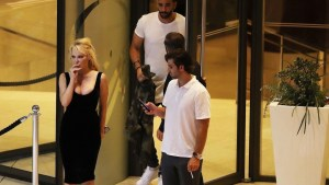 *EXCLUSIVE* Pamela Anderson and Adil Rami enjoy a romantic dinner at the Fairmont Hotel in Monaco