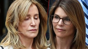 Felicity Huffman on Left Looking Sad and Lori Loughlin on Right Looking Serious