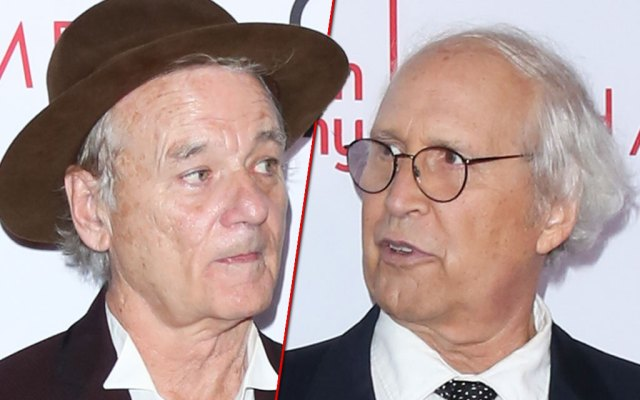 Bill Murray on Left Looking at Chevy Chase