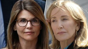 Photo of Lori Loughlin on Left With Glasses Overlapping Photo of Felicity Huffman on Right