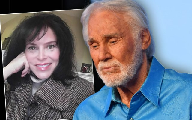 Kenny Rogers Looking Sad in Blue Shirt With Inset Of Photo of Lisa Applewhite Kimbell