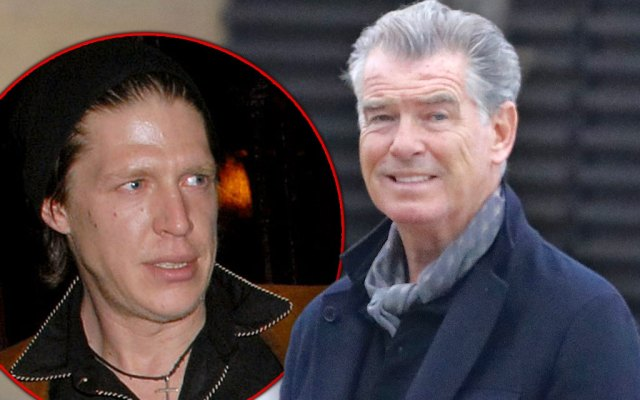 Pierce Brosnan on Right Looking Nervous with Inset of His Son Chris Brosnan on Left