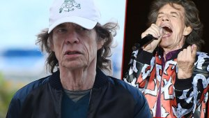 Closeup photo of Mick Jagger Wearing Baseball Cap with Inset of Mick Performing