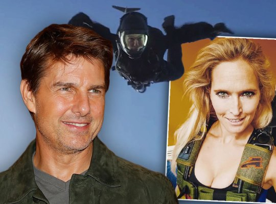 Tom Cruise Looking Right at Photo of Sian Stokes with Mission Impossible Skydiving at the Top