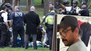 D. C. Police and Paramedics Looking at Man on the Ground with Respirator Inset Photo of Arnav Gupta