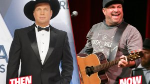 On Left Garth Brooks Wearing Tuxedo In 2015, On Right Garth Brooks Performing Wearing T-shirt in 2019