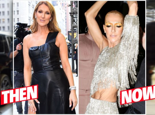 On Left: 2016 Celine Dion Poseing in a One Shoulder Black Leather Dress. On Right: 2019 Very Skinning Celine Dion Dancing in Beaded Cutout Dress Showing Rib Cage And Excess Skin