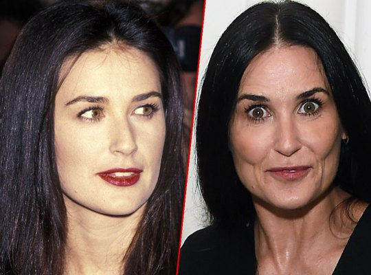 Demi Moore with Red Lipstick In 1994 On Left, and in 2019 On Right