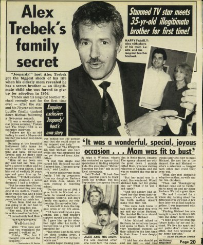 The original 1991 National Enquirer Story about Alex Trebek's long lost brother.