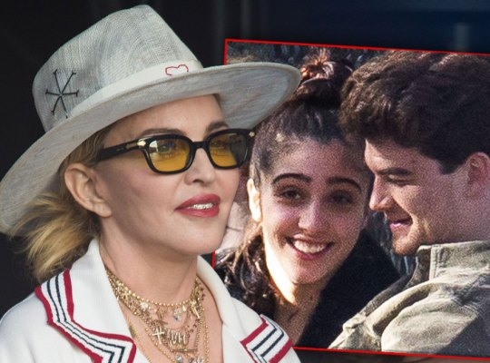 Madonna in White Hat and Glasses Inset Daughter Lourdes Leon and Boyfriend