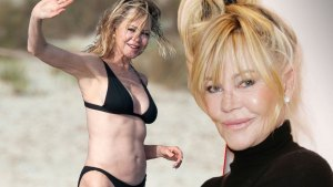 Melanie Griffith Wearing Black Bikini Waving While Standing In Boat In Spain Inset Headshot of Melanie Griffith With Her Hair Up