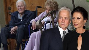 Kirk and Anne Douglas in Wheelchairs in Front Of Their Home, Inset Michael Douglas in Suit With Catherine Zeta-Jones in Black Dress Looking At Them