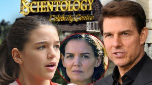 Suri Cruiselooking at Inset ofKatie Holmes and Tom Cruise With Chhurch Of Scientology Building In The Background