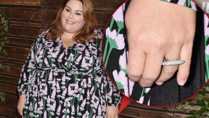 CHrissy Mtz Wearing Black Pink and Green Floral Dress, Inset Detail Of Her Hand With Diamond Ring