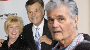 Inset of Mary Willard and Fred Willard Smiling in 2015, Fred Willard in 2019 looking shocked