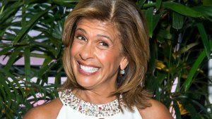 Hoda Kotb Wearing a Whte Dress With Jeweled Neckline
